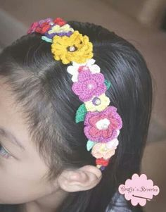 Crochet floral headband