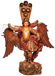 São Miguel Arcanjo  Madeira entalhada e policromada, 138 x 107 x 34 cm  Século XVIII - Portugal