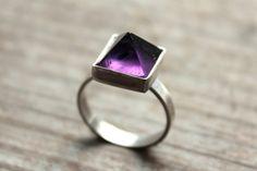 AA dark amethyst pyramid gemstone ring. by thecrystalcaveshop