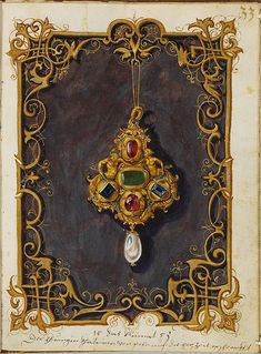 Jewel Book of the Duchess Anna of Bavaria - Originally published: 1552 o Jewellery Sketches, Jewelry Drawing, Jewelry Art, Jewelry Sketch, Medieval, Antique Books, Vintage Books, Art Ancien, Renaissance Jewelry