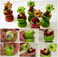 Here's the link to the tutorial >> DIY Apple Fruit Cups Tutorial << Fruit Cups, Fruit Art, Fruit Bowls, Fruit Plate, Fruit Salad, Apple Flowers, Food Carving, Apple Fruit, Apple Cup