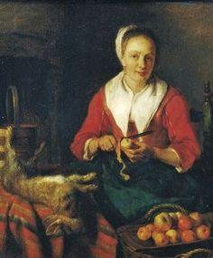 Gabriel Metsu (Dutch Baroque Era Painter, 1629-1667) Woman Peeling Potatoes