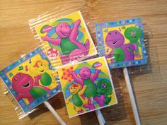 24 Barney Lollipop Favors Favor Lollipops by HeartlandDesignCo