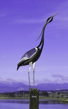 Heron stainless steel sculpture