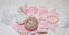 Pink and white Headband by Caprice Colette by CapriceColette, $16.99