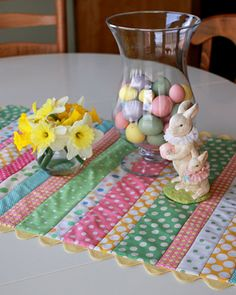 Easter Table Runner Tutorial  Looks easy, so sweet!  Could the runner be crocheted with different rows of various stitches??