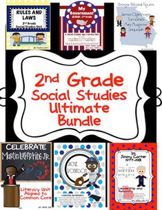 The Ultimate Bundle is 100% aligned to Georgia Standards for Second Grade! Each of these units can be purchased seperatly or TOGETHER in this Ultimate Bundle: Rules and Laws, Government, Economics Historical Figures: Oglethorpe, Tomochichi, Musgrove, Sequoyah, Dr. Martin Luther King, Jr., Jackie Robinson, Jimmy Carter