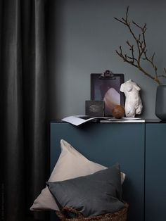 Such beautiful tone on tone hues in this dark bedroom. This makes the bedroom cozy, inviting and perfect for the winter months. Styled by Pella Hedeby for Ikea Livet Hemma Farmhouse Bedroom Decor, Cozy Bedroom, Luxury Home Decor, Luxury Homes, Espace Design, Dark Interiors, House Beds, Luxurious Bedrooms, Interiores Design