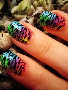 Zebra Print Nails Design, Rainbow zebra-stripe nails for girls,Zebra Print Nails Art in 2013 Fall/Winter #zebra #nails #christmas www.loveitsomuch.com Pretty Nail Designs, Colorful Nail Designs, Toe Nail Designs, Nails Design, Zebra Stripe Nails, Zebra Print Nails, Nails 2015, Nail Mania, Animal Nail Art