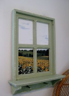 """Shabby Chic Hand Crafted Faux Window Picture Frame 20"""" x 26"""" with a 4"""" shelf and 2 wood pegs.  Photo was taken in Upstate Ny    (Your photos or ours)    $64.99"""