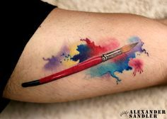 Want a watercolour paintbrush on my forearm, representing my love of art <3