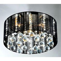 Master closet light fixture? Black Shade 5-light Satin Nickel and Clear Crystal Ceiling Lamp