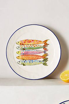 Slide View: Sardina Side Plate from Anthropologie Painted Plates, Ceramic Plates, Ceramic Pottery, Hand Painted, Painted Fish, Ceramic Fish, Decorative Plates, Side Plates, Plates On Wall