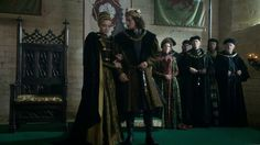 The White Princess - queen Elizabeth of York and king Henry VII with Margaret Beaufort