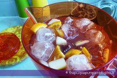 Virgin Sangria, non-alcoholic cocktail. This one was a big hit! Virgin Sangria, Virgin Cocktails, Non Alcoholic Cocktails, Refreshing Drinks, Summer Drinks, Purple Pumpkin, Frozen Drinks, Dessert Drinks, Desserts