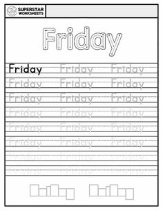 Free Days of the Week Worksheets for kids to work on handwriting, and spelling. Students trace, write and spell each day of the week. Free Handwriting Worksheets, Spelling Worksheets, Reading Worksheets, Worksheets For Kids, Alphabet Writing Practice, Handwriting Practice, Cursive Alphabet, Alphabet Crafts, Calendar Worksheets
