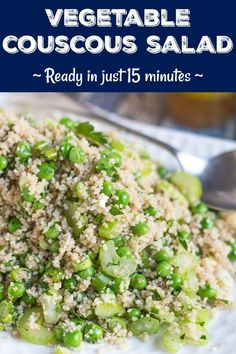 A super easy vegetable couscous salad recipe that can be pulled together in just 15 minutes and is the perfect side dish for a summer BBQ. Any leftovers are also brilliant in the lunchbox. Couscous Salad Recipes, Vegetarian Salad Recipes, Best Salad Recipes, Chicken Salad Recipes, Pasta Salad, Healthy Recipes, Shrimp Salad, Shrimp Pasta, Savoury Recipes
