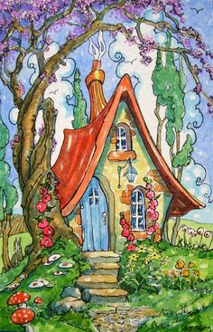 """""""Under the Old Redbud Tree Storybook Cottage Series"""" original fine art by Alida Akers"""