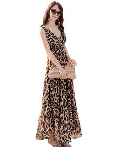 Minibee Women Bohemian Leopard V-neck Long Beach Dress Sundress M | Amazon.com