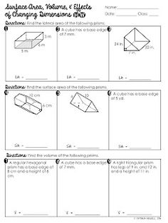 FREE Surface Area and Volume of Rectangular Prisms Worksheet ...