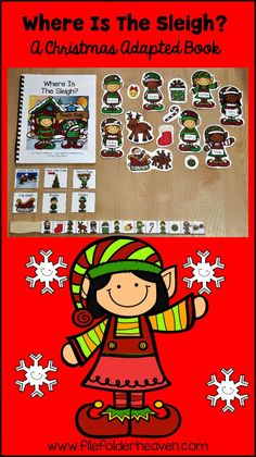 """This Christmas Adapted Book, """"Where is the Sleigh?"""" is super-fun and… Life Skills Activities, Kindergarten Math Activities, Speech Activities, Preschool Books, Preschool Themes, Literacy, Christmas Speech Therapy, Book Baskets, Wh Questions"""