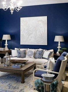 Navy Blue Decor Blue Accent Wall With Cream Fabric And Dark Wood For Living  Room Home