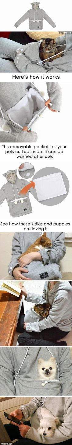 """This """"Meowgaroo"""" Hoodie Lets Your Pets Cuddle Up Against You"""