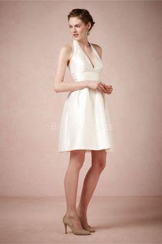 Short Length Halter A line Taffeta With Ruching Sexy Wedding Dress