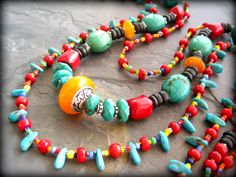Multi Strand African Tribal Statement Necklace, Ethnic Necklace, Turquoise, Red Coral, African Trade Beads, Tribal Jewelry. $159.00, via Etsy.