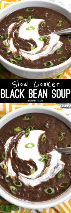 Packed with vegetables, flavor, protein, and fiber, this ultra-flavorful and low-calorie Slow Cooker Black Bean Soup is an all around winner! @budgetbytes