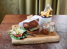 Image result for burgers on a wooden board