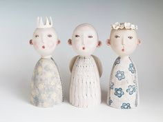 Thee Angels, Art greeting card, my original ceramic sculpture card
