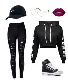 """Edgy Casual"" by vazzah ❤ liked on Polyvore featuring NIKE, Blue Crown and Converse"