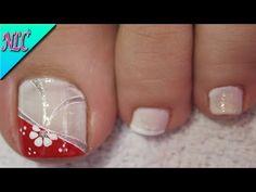 DISEÑO DE UÑAS PARA PIES FLOR Y MALLAS PRINCIPIANTES - FLOWERS NAIL ART - NLC - YouTube Toe Nail Art, Pedicure, Nail Designs, Beauty, Youtube, Feet Nails, Nail Arts, Art Nails, Toe