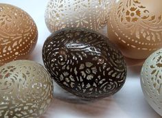 Victorian Lace Carved Chilean Tinamou Egg by theNestatWindyCorner