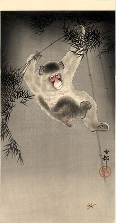 Monkey Swinging From A Bamboo Branch Observing A Fly, Ohara Koson