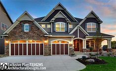 4 bed Craftsman plan 73342HS. Exclusively available at Architectural Designs