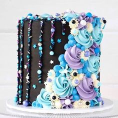 Final cake of 🖤💜💙 Can't thank you lovely humans enough for all . - Cakes and cake decorations - Torten Beautiful Cake Designs, Beautiful Cakes, Amazing Cakes, Best Cake Designs, Pretty Cakes, Cute Cakes, Yummy Cakes, Fancy Cakes, Cake Decorating Designs