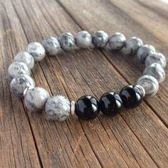 Picasso Jasper masculine perles bracelet extensible agrémenté de trois perles d'onyx Bon à savoir : jaspe est une pierre de protection et est également