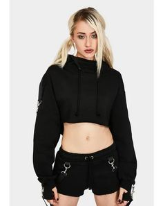 Belted Shorts, Mini Shorts, Ashley Blue, Current Mood, Rave Outfits, Punk Fashion, Cropped Hoodie, Clothes, Black
