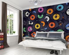 Mural Brewster Home Fashions Vinyl Music Wall Music Wallpaper, Wall Wallpaper, Bedroom Wallpaper, Flower Wallpaper, Photo Wallpaper, Record Wall, Record Decor, Music Wall Decor, Record Crafts