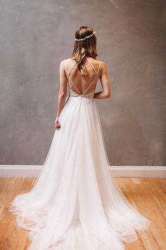 Sweetheart Straps White Chiffon  Wedding Dress with Beading-Pgmdress