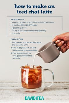 Have you ever tried your favourite Chai Latte ICED? Chai Tea Recipe, Latte Recipe, Tea Recipes, Coffee Recipes, Cooking Recipes, Yummy Drinks, Healthy Drinks, Yummy Food, Cold Drinks