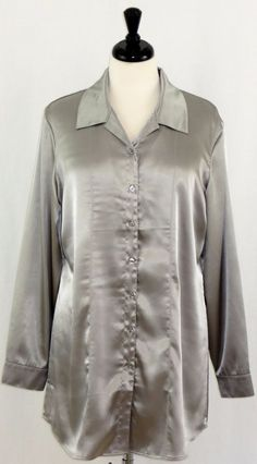 Chicos Long Sleeve Silver Liquid Satin Holiday Blouse Shirt Size 2 M 12 #Chicos #Blouse #EveningOccasion
