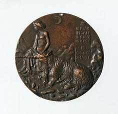 Pisanello (Antonio Pisano) (Italian, Pisa or Verona by 1395–1455), Portrait medal of Cecilia Gonzaga (obverse); Innocence and a Unicorn in a Moonlit Landscape (reverse), model 1447 (old aftercast). Bronze (copper alloy with warm brown patina under a worn layer of black wax). Diam. 8.4 cm, wt. 142.55 g. Robert Lehman Collection, 1975, 1975.1.1307 © 2000–2016 The Metropolitan Museum of Art.