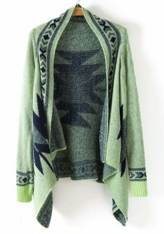 Green Geometric Embroidery Long Sleeve Cotton Blend Cardigan