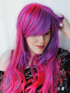 Sale . SUNSET in PARADISE wig // Pretty Pony Purple Pink Blue Teal Hair // Long Wavy wig via Etsy