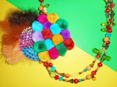 Bright Bohemian Corsage Necklace by TheToteTrove on Etsy