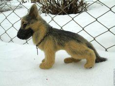 Купить Валяная собака Немецкая овчарка Никита. Игрушка из шерсти. - комбинированный, черный, бежевый, овчарка