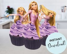 Disney Princess Rapunzel, Disney Tangled, Princess Zelda, Rapunzel Cupcakes, Disney Party Decorations, Jpg File, Baby Birthday, Cupcake Toppers, Birthdays
